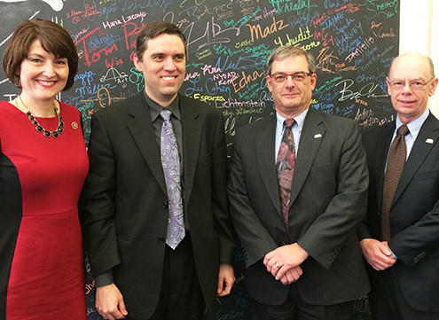 U.S. Rep. McMorris Rodgers, left, entrepreneur DePaula and the Washington SBDC's Stanford and Fladland.