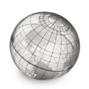 Round grey globe on white