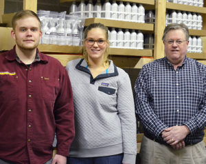 Luke Hossner, left, Stephanie Peters and Bryan Hossner of DropForge Leather Care