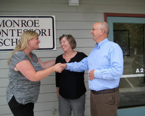 Thea Heineman, new owner of Monroe Montesorri with former owners Allan and Gayle Washburn